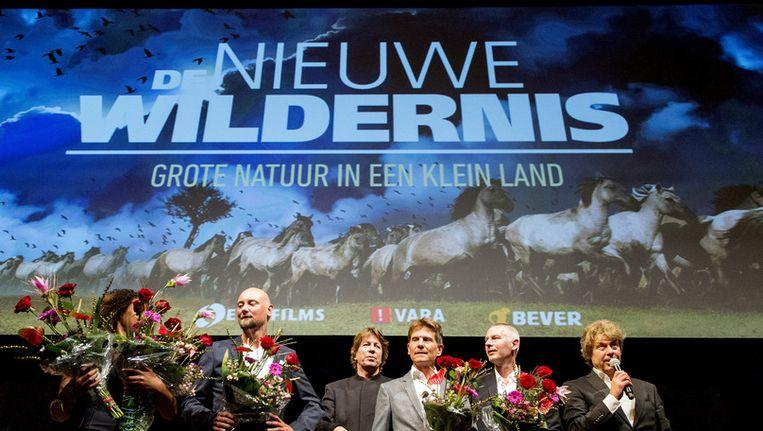 De filmmakers van De nieuwe wildernis na afloop van de première. Beeld anp