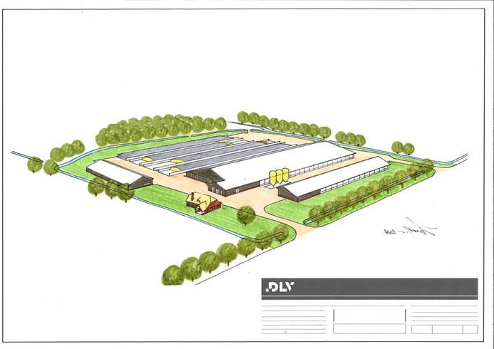 Zo zal het nieuwe complex aan de Eikenstraat er ongeveer uit komen te zien. Vooraan de boerenwoning.