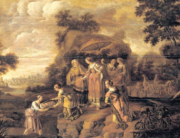 'Farao's dochter vindt Mozes in het biezen mandje' door Guilliam du Gardijn (1647). Beeld Rijksmuseum