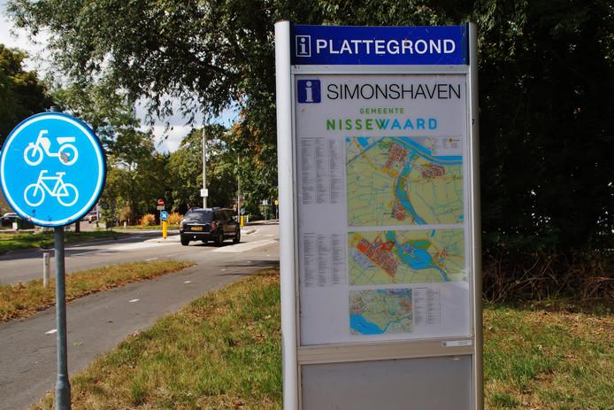 De plattegrond van Simonshaven is neergezet in Zuidland.