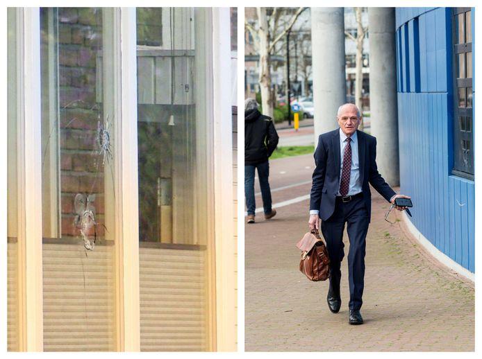 Links: kogelgaten in en Enschedese woning na een beschieting vannacht. Rechts: Gerard Sanderink op archiefbeeld, vandaag stond hij weer tegenover zijn ex in de rechtbank.