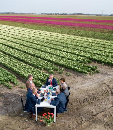 College Noordoostpolder vergadert langs tulpenveld