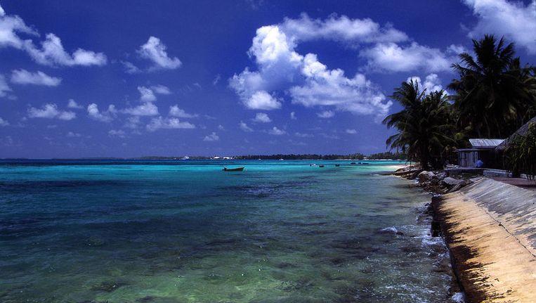 Een strand op Tuvalu Beeld Wikimedia Commons / Stefan Lins