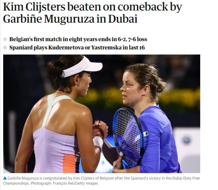 The Guardian over Clijsters.