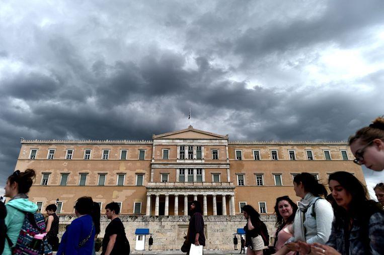 Het Griekse parlement in Athene. Beeld afp