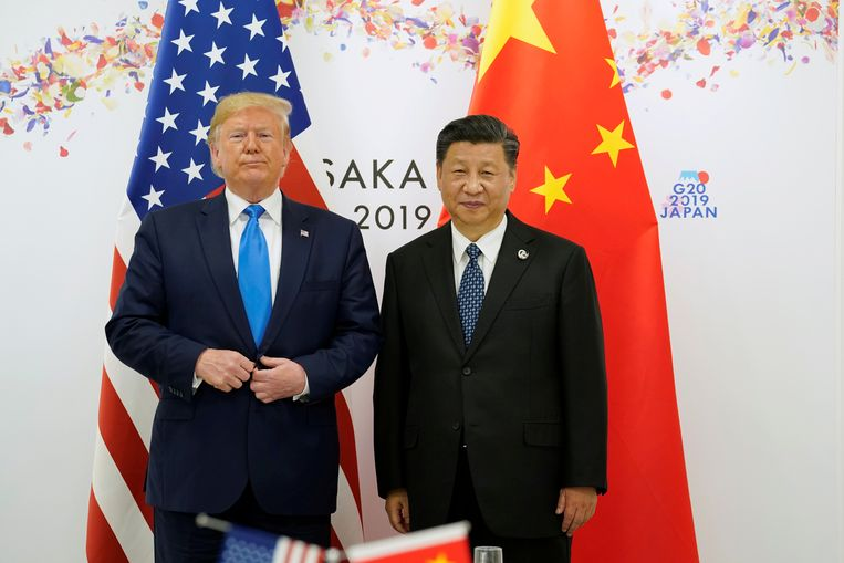 De Amerikaanse president Donald Trump met de Chinese leider Xi Jinping, hier op de G20 in Japan.