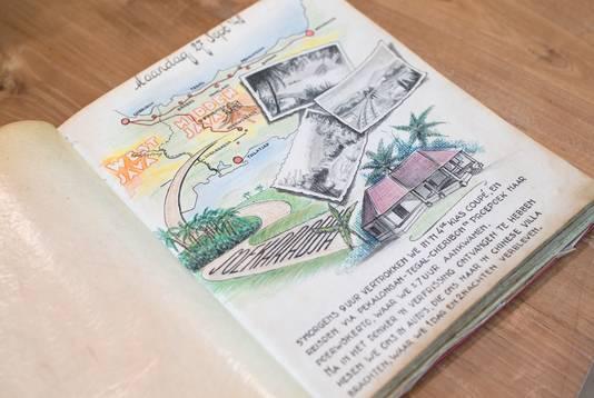 Een pagina uit het originele dagboek van korporaal Flip Peeters uit 's-Heerenberg.
