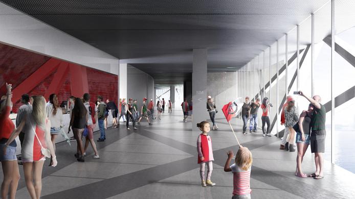 Inkijkje in het nieuwe stadion. Ruim, en met zicht op de Nieuwe Maas.