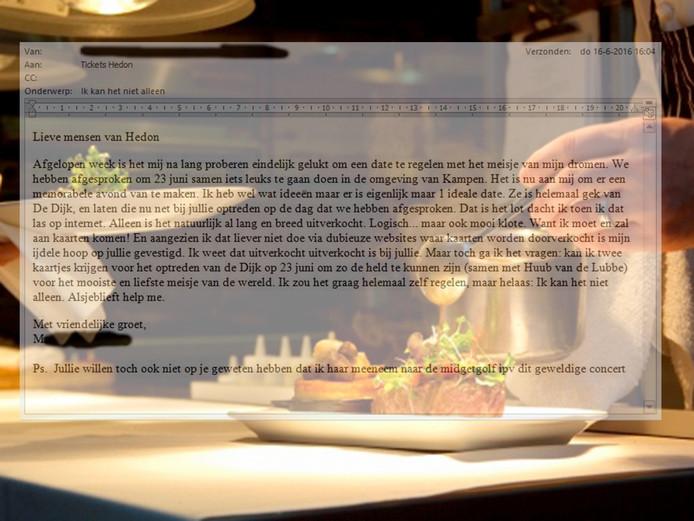 Een verliefde man richtte zijn noodkreet aan poppodium Hedon Zwolle en mag daar nu backstage dineren met zijn lief.