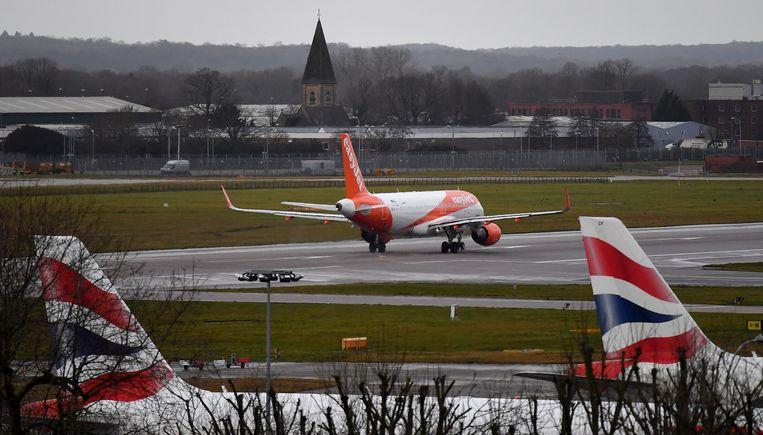 Een EasyJet-toestel op luchthaven Gatwick.