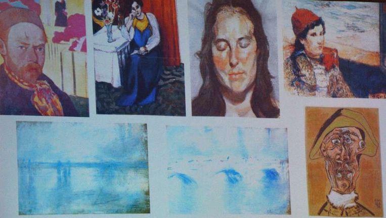 Afbeelding van de schilderijen die op 16 oktober 2012 uit de Rotterdamse Kunsthal werden gestolen. Beeld anp