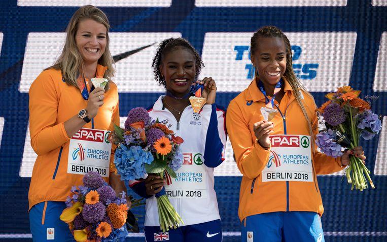 Dafne Schippers (Nederland), Dina Asher-Smith (Groot-Brittannië), Jamile Samuel (Nederland). Beeld AP