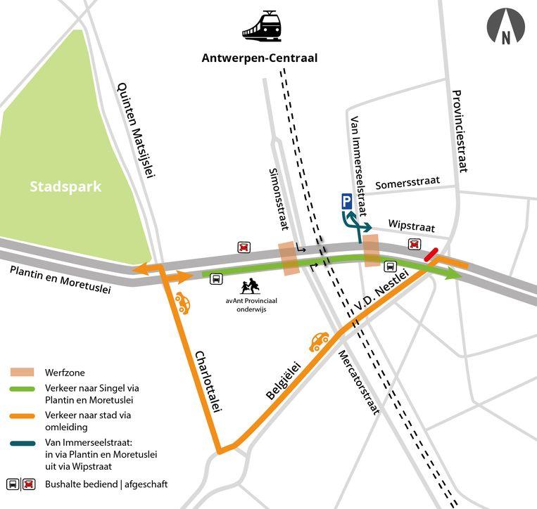 Tijdens het Hemelvaartweekend wordt er op de Plantin en Moretuslei grote hinder voor het verkeer verwacht.