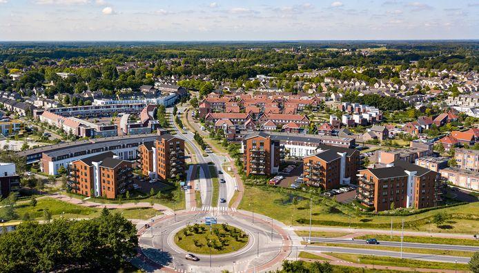 De vijf nieuwe complexen bij de rotonde Hertgang/Meerhovendreef.