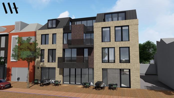 Het nieuwbouwcomplex dat komt op de plek van de voormalige woonwinkel Maas aan het Wilhelminaplein in Someren.