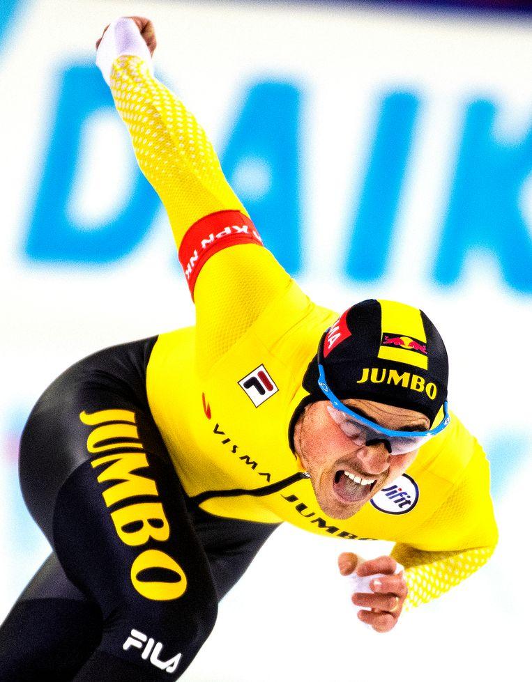 Jan Smeekens rijdt de 2e tijd in Heerenveen en mag daardoor naar de EK afstanden en WK afstanden.  Beeld Klaas Jan van der Weij