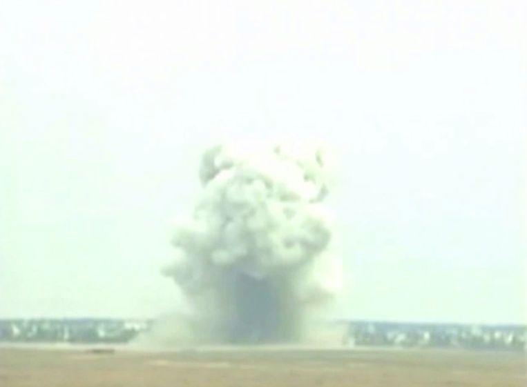 De ontploffing van de 'mother of all bombs' bij een test in 2003 Beeld Photo News