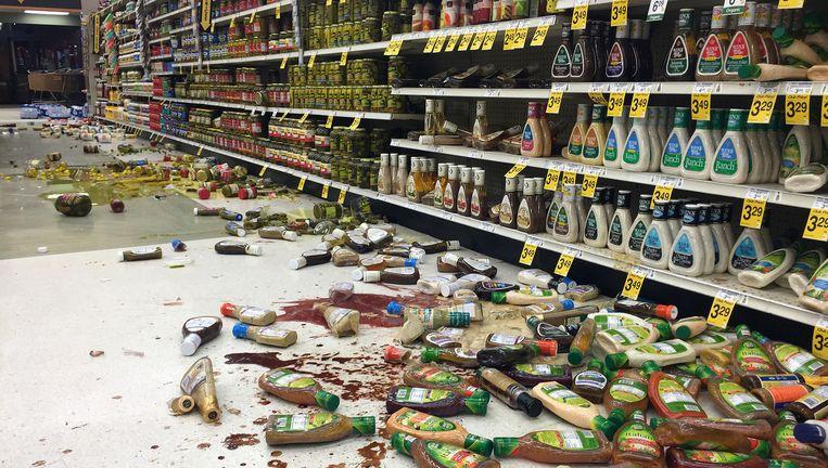 In deze winkel vielen daar de schok verschillende producten uit de rekken.