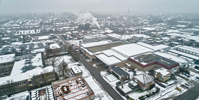 Het ingekapselde bedrijventerrein in winterse sferen, met rechtsvoor het complex van Dalco en links de voormalige laboratoriumschool.