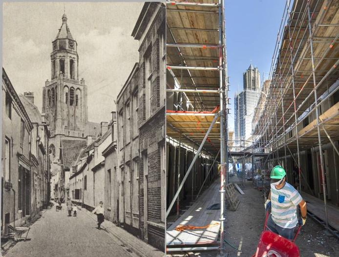 Links de Trompetsteeg tussen 1925 en 1935, rechts het Paradijs in augustus 2016.
