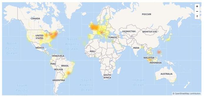 La panne est essentiellement concentrée en Europe et aux Etats-Unis, comme on peut le constater sur cette carte proposée par Downdetector.