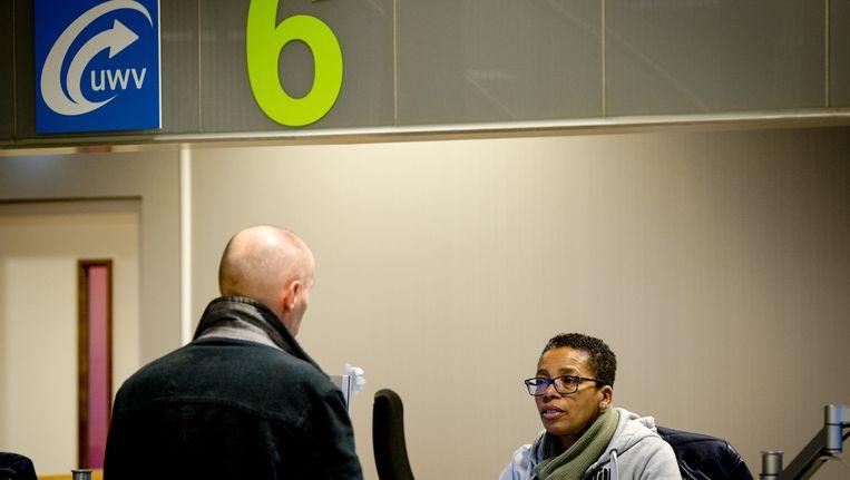 Werkzoekenden bij het Werkplein van het UWV in Amsterdam. Beeld anp