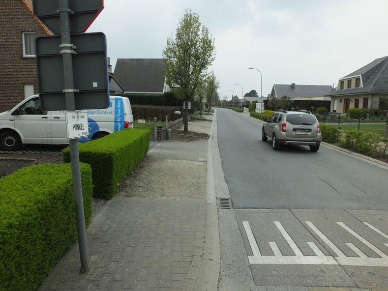 In de Winkelstraat in Astene wordt vaak te snel gereden.