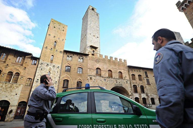 Paniek in San Gimignano (Siena).