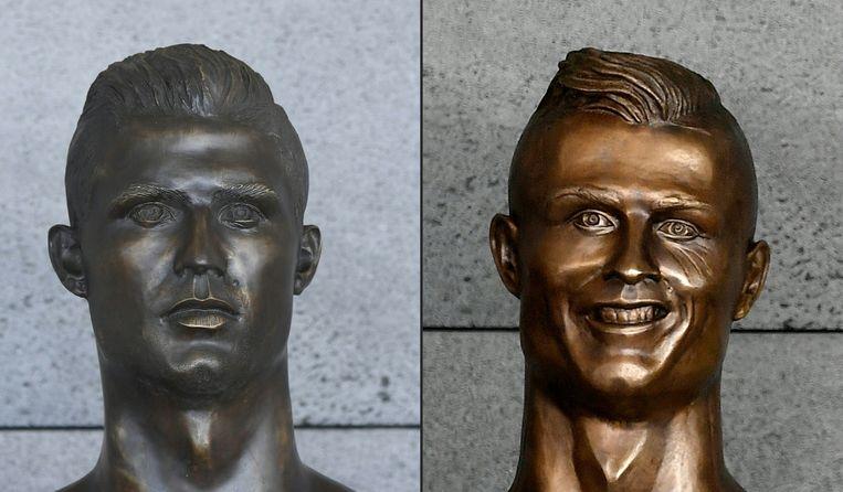 Links de nieuwe buste van Ronaldo aan de luchthaven van Madeira, rechts de oude.