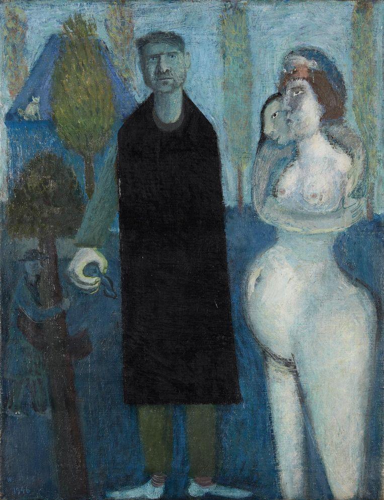 Zelfportret met vrouwen (1946) Beeld Co Westerik