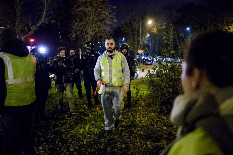 Éric Drouet tijdens in demonstratie in Parijs op 17 november 2018.
