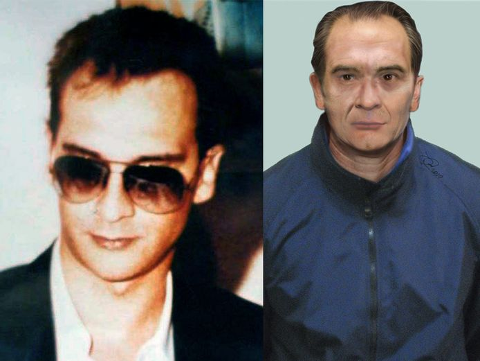 Matteo Messina Denaro (links) voor hij onderdook in 1993. Rechts een simulatie van hoe de politie vermoedt dat hij er nu ongeveer zou uitzien.