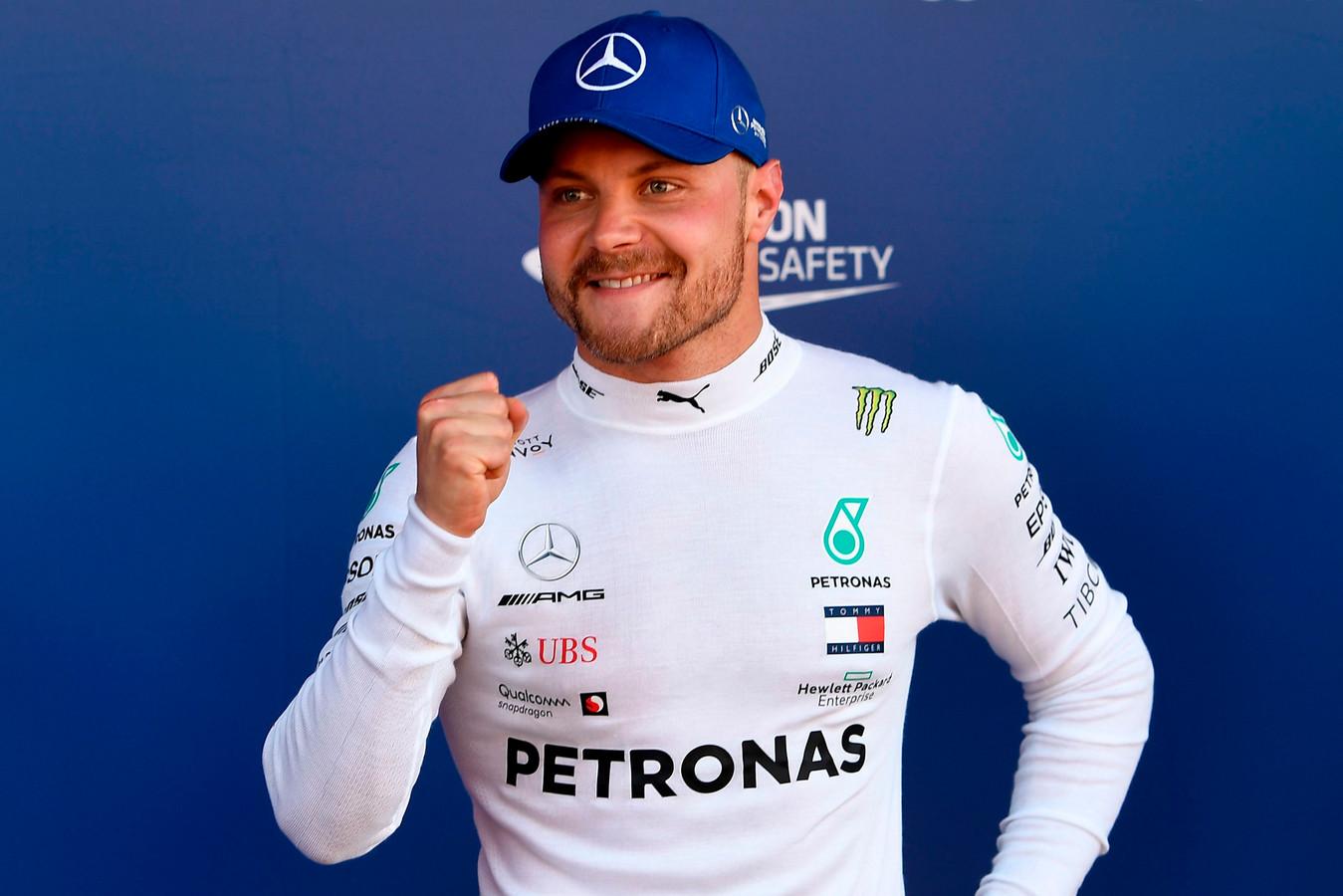 Valtteri Bottas is blij met zijn derde opeenvolgende poleposition.
