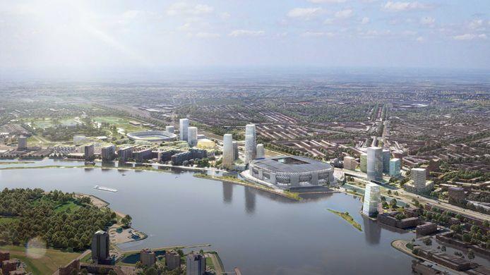 Feyenoord City, met het nieuwe stadion als middelpunt van alle nieuwbouw.
