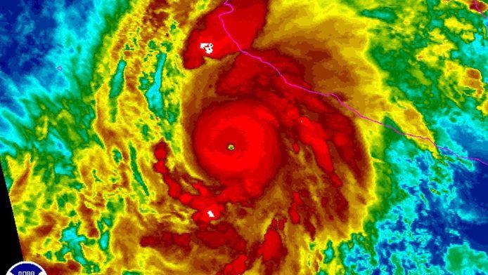 Orkaan Patricia vanuit de ruimte in kleurcoderingen