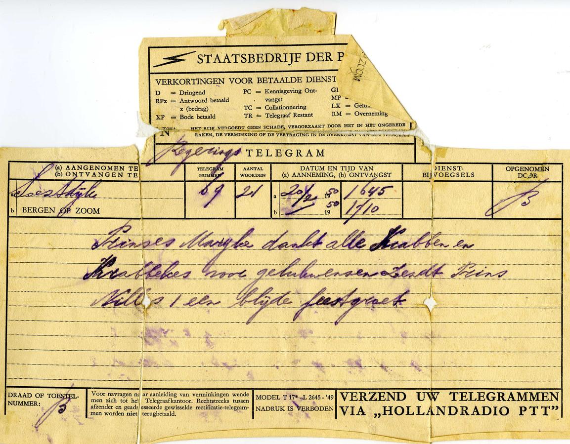 Telegram van prinses Marijke (later Christina) aan de bevolking van Bergen op Zoom.