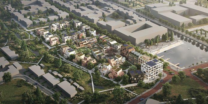 De Beekblokken bestaan uit drie delen, met 70 eengezinswoningen en 43 appartementen