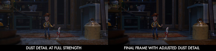 """Les détails sont d'une importance capitale dans """"Toy Story"""". Il faut que le spectateur comprenne en une image que les jouets évoluent dans un monde d'humains. Ici, la poussière sert à montrer au subconscient que les jouets se cachent des humains en fréquentant des endroits qu'ils ne foulent pas."""