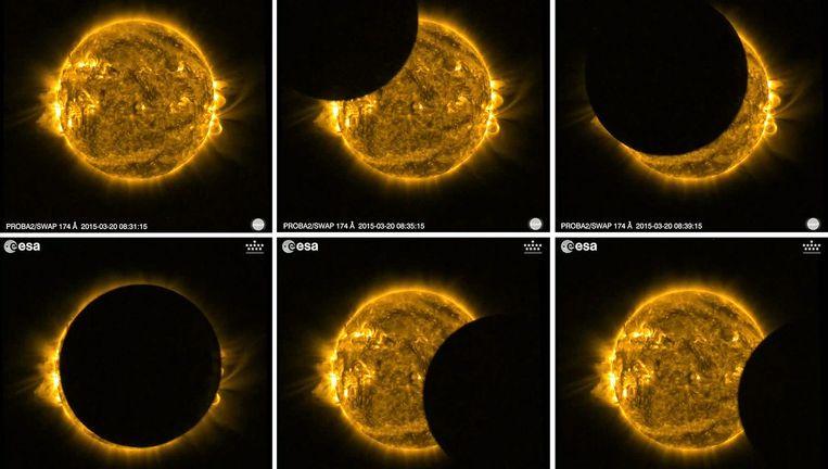De 'omgekeerde' zonsverduistering, gezien vanuit satelliet Proba-2 Beeld EPA
