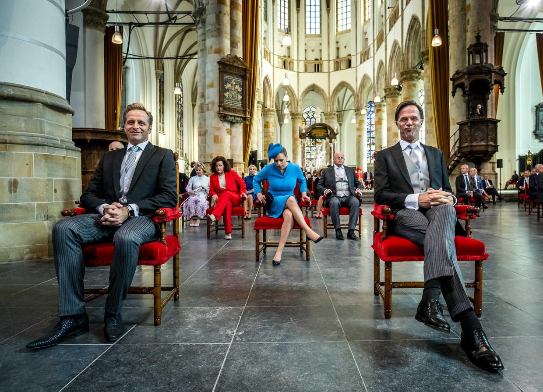 Minister De Jonge en premier Rutte voorafgaand aan de troonrede vandaag.  Beeld ANP