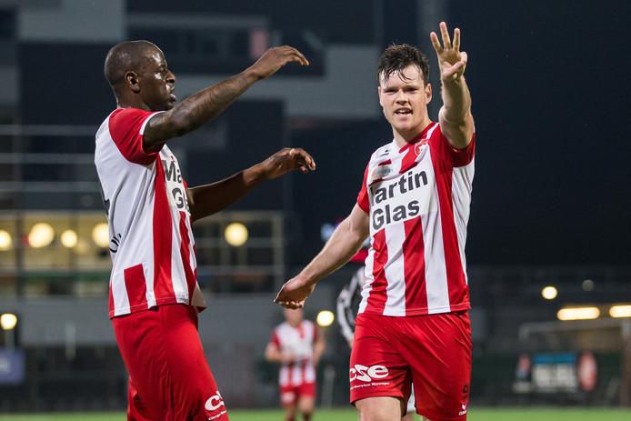 , FC Oss speler Tom Boere na het maken van zijn 30ste goal.