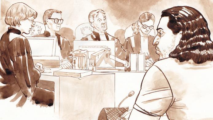 Omar H. tijdens de pro forma zitting in de rechtbank van Rotterdam