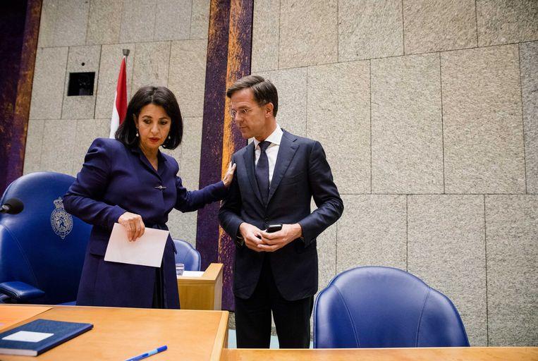Kamervoorzitter Khadija Arib en premier Mark Rutte bij het begin van de tweede dag van de Algemene Politieke Beschouwingen 2018. Beeld ANP