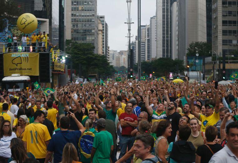 Een protest tegen de vrijlating van de van corruptie verdachte Lula.