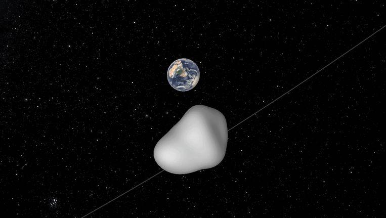 Een impressie, verspreid door NASA, van asteroïde 2012 TC4 die langs de aarde passeert.