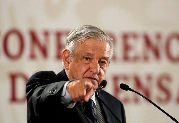 De Mexicaanse president Andres Manuel Lopez Obrador tijdens een persconferentie. Zaterdag accepteerde hij het ontslagverzoek van zijn minister voor Milieu.