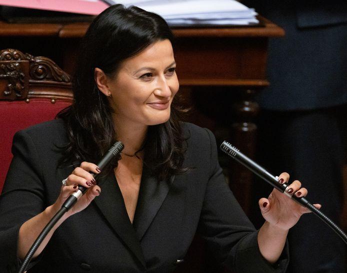 Stephanie D'Hose bij haar aanstelling als voorzitter van de senaat