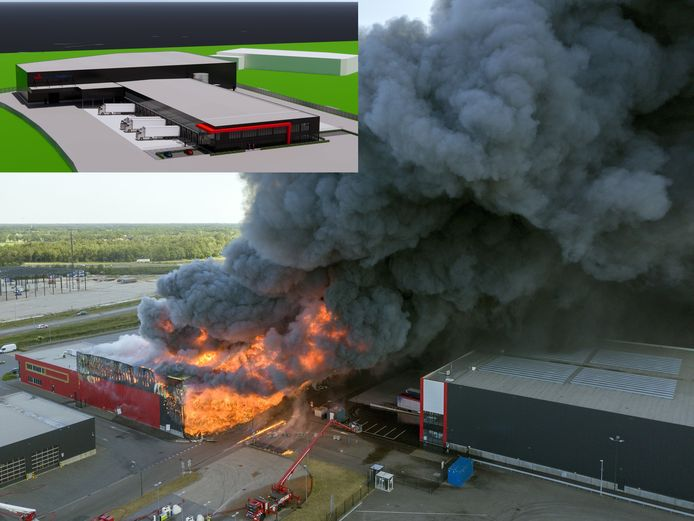 De enorme brand bij Van der Heijden Transport in Hapert. Inzet: de nieuwbouw die binnen een jaar wordt gerealiseerd.