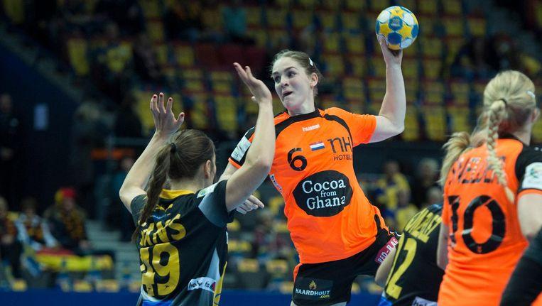Laura van der Heijden van Oranje tijdens het EK-duel tegen Spanje. Beeld null