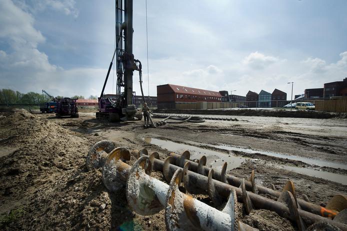 Archiefbeeld van bouwwerkzaamheden in het Arnhemse stadsdeel Schuytgraaf.